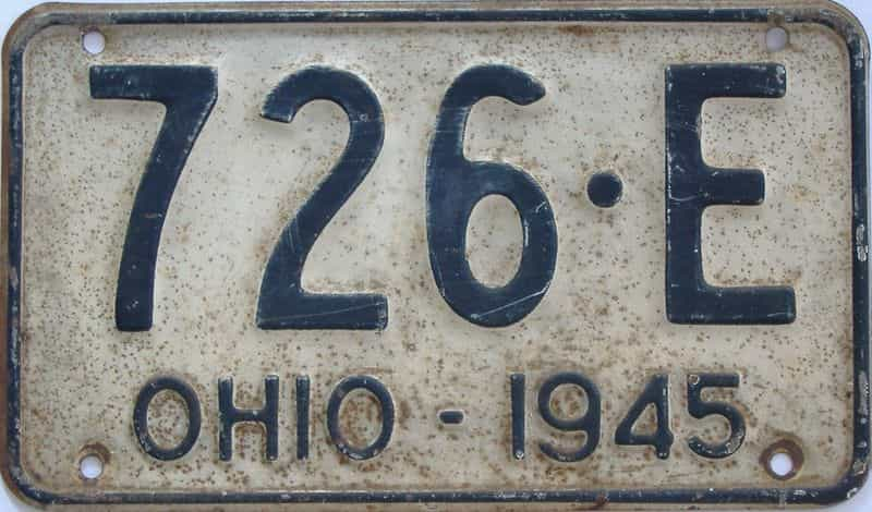 1945 OH license plate for sale