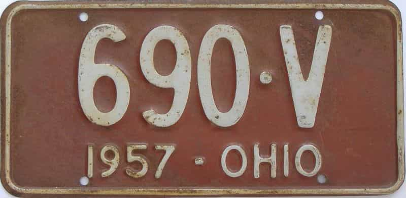 1957 Ohio (Single) license plate for sale