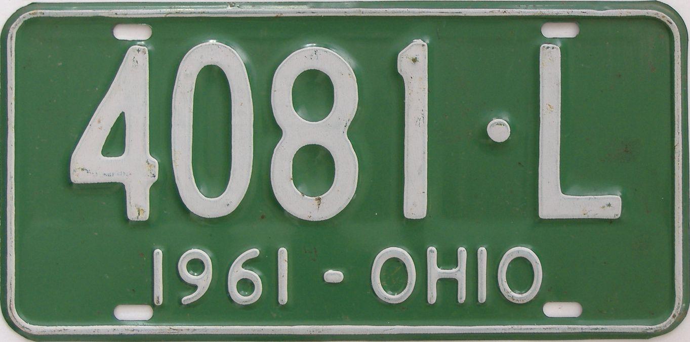 1961 Ohio (Single) license plate for sale