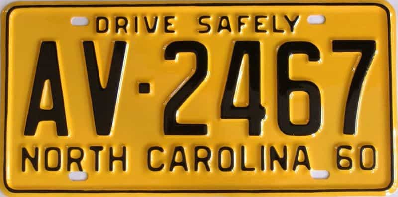 RESTORED 1960 NC license plate for sale