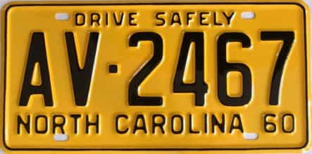 RESTORED 1960 North Carolina license plate for sale