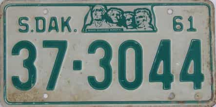 1961 South Dakota (Single) license plate for sale