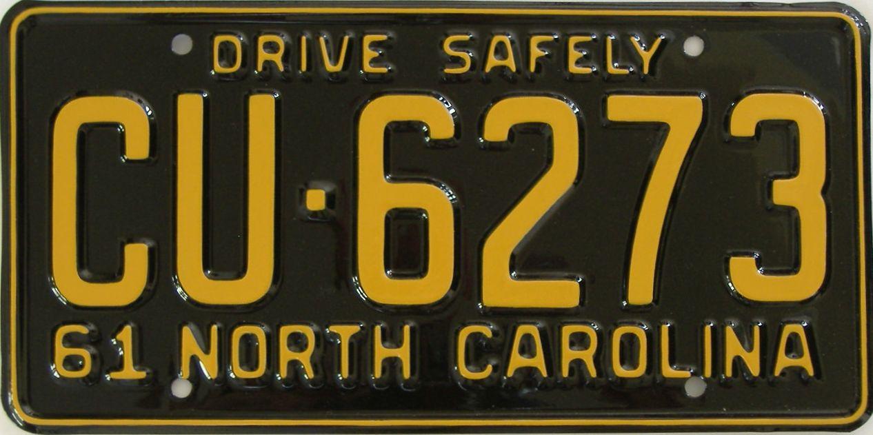 RESTORED 1961 North Carolina license plate for sale