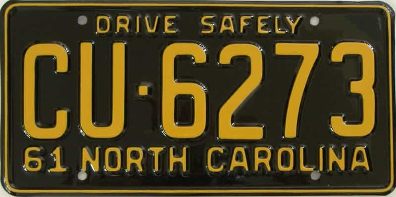 RESTORED 1961 NC license plate for sale
