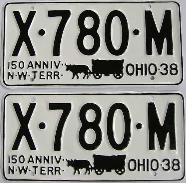 RESTORED 1938 OH license plate for sale