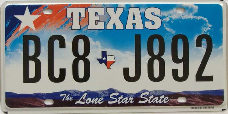 2010 TX (Single) license plate for sale
