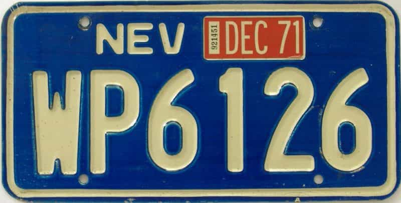 1971 NV (Single) license plate for sale