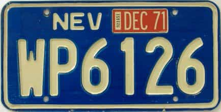1971 Nevada (Single) license plate for sale
