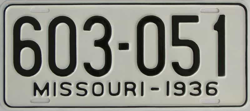 RESTORED 1936 Missouri  (Single) license plate for sale