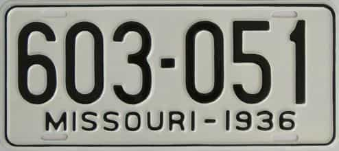 RESTORED 1936 Missouri (Single) license plate for sale