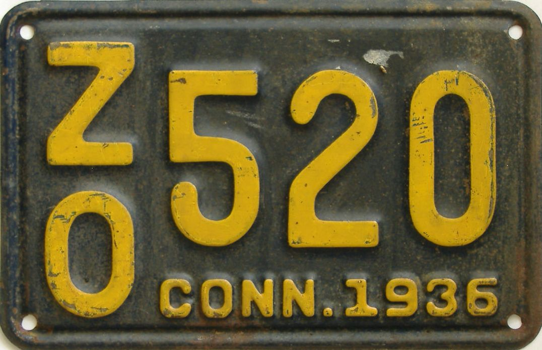 1936 Connecticut (Single) license plate for sale