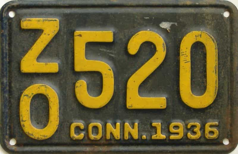 1936 CT (Single) license plate for sale