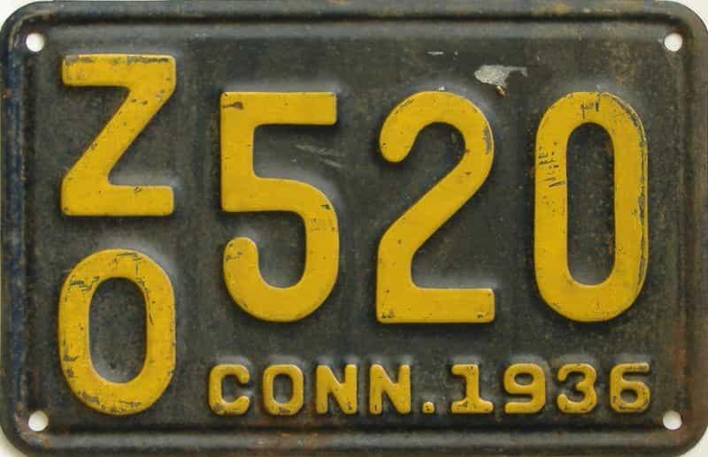 1936 Connecticut (Single) license plate for sale