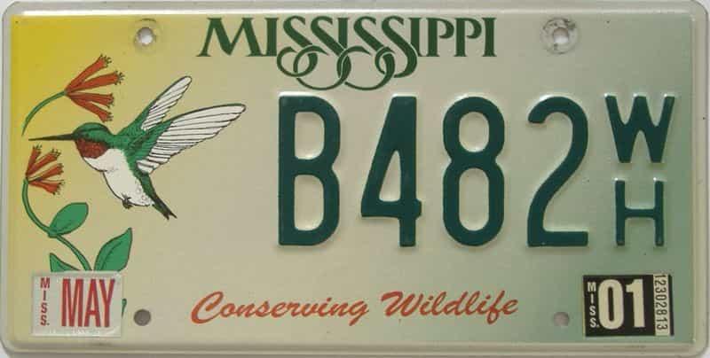 2001 Mississippi license plate for sale