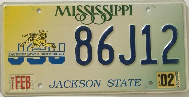 2002 Mississippi license plate for sale