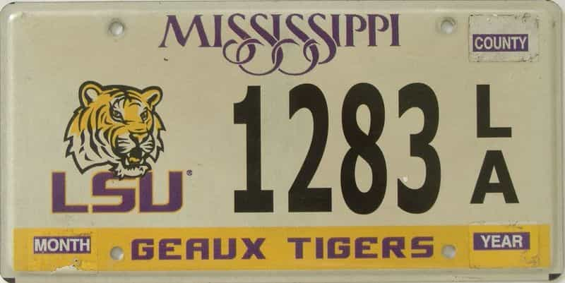 Mississippi license plate for sale
