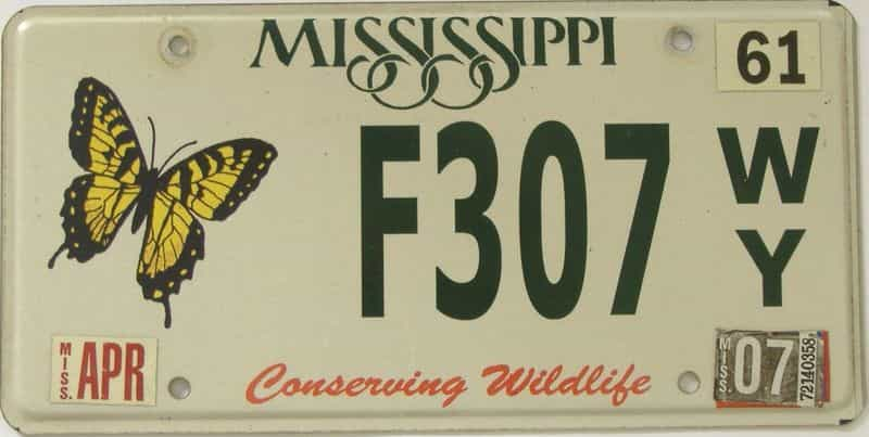 2007 Mississippi license plate for sale