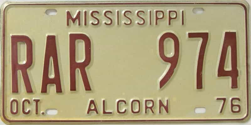 1976 Mississippi license plate for sale