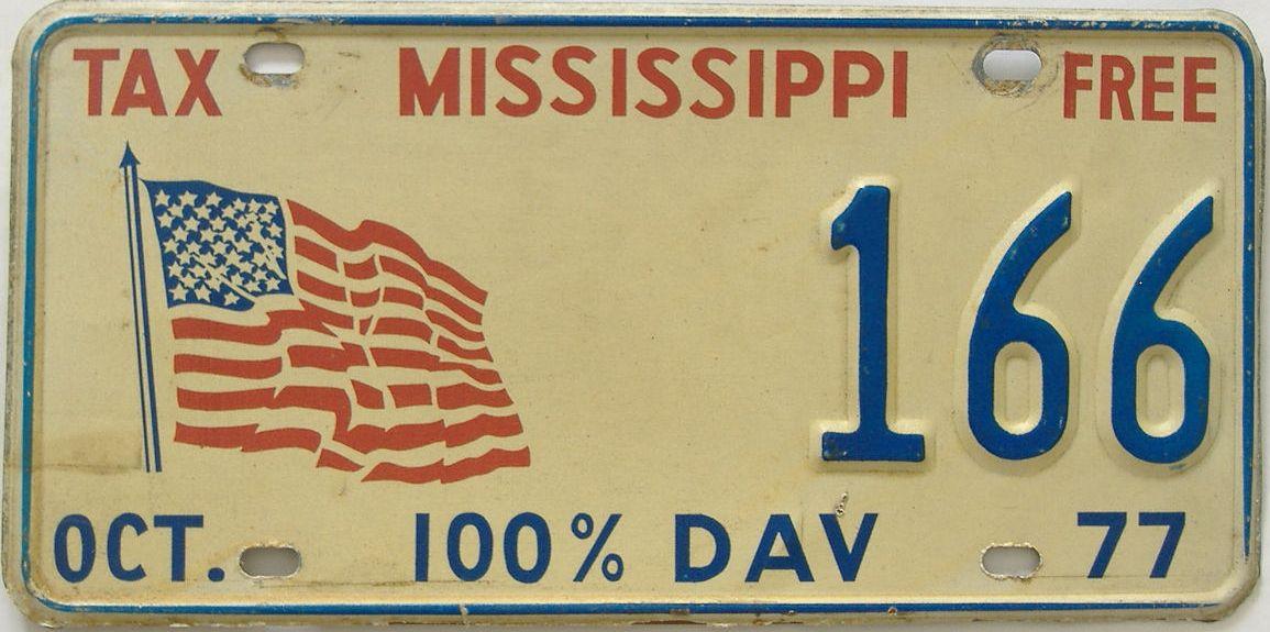 1977 Mississippi (Veteran) license plate for sale