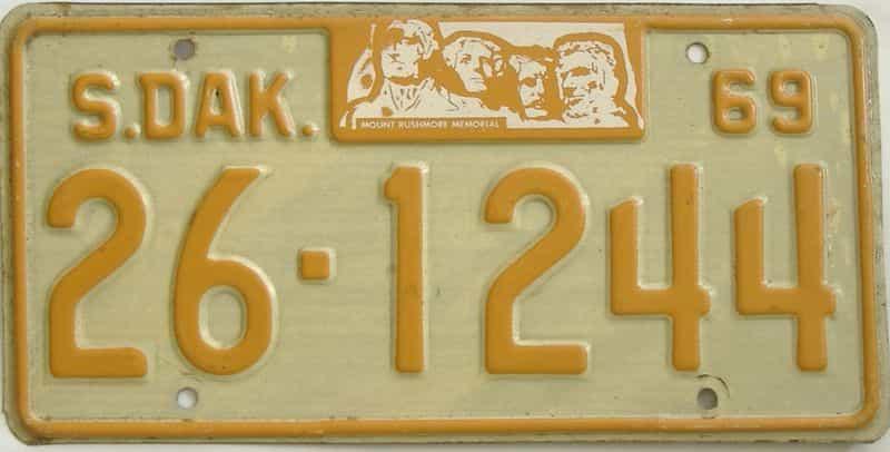 1969 South Dakota  (Single) license plate for sale