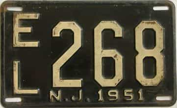 1951 New Jersey (Single) license plate for sale