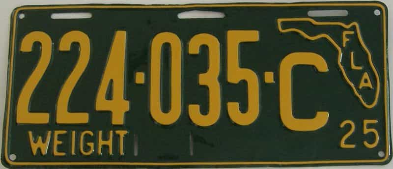 RESTORED 1925 Florida license plate for sale