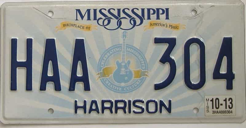 2013 Mississippi (Natural) license plate for sale