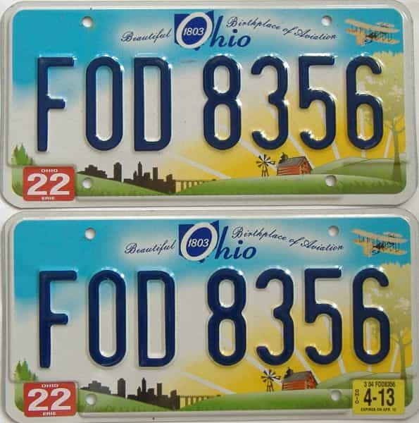 2013 Ohio  (Pair) license plate for sale