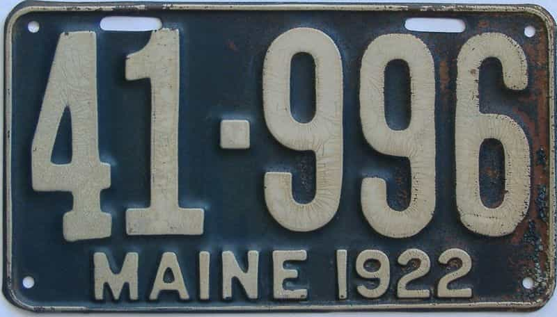 1922 Maine (Single) license plate for sale