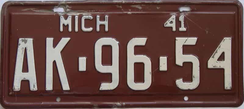 1941 MI (Single) license plate for sale