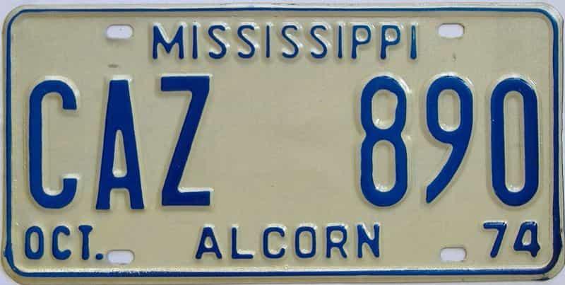 1974 Mississippi license plate for sale
