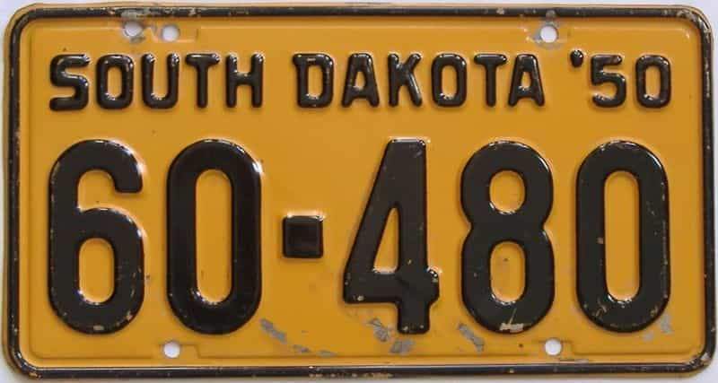 1950 SD (Single) license plate for sale