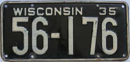 1935 Wisconsin (Single) license plate for sale
