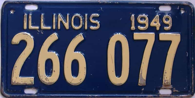 1949 Illinois (Single) license plate for sale