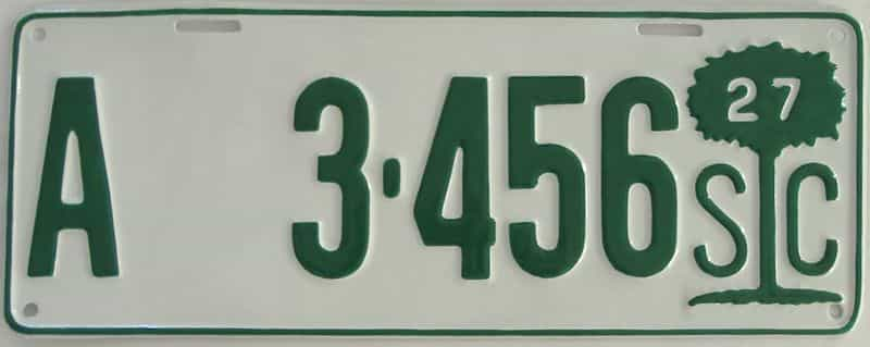 RESTORED 1927 South Carolina license plate for sale