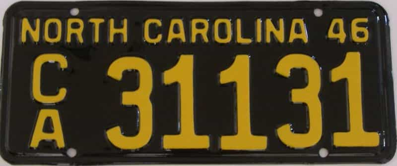 RESTORED 1946 NC license plate for sale