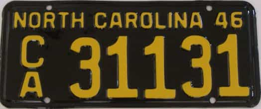 RESTORED 1946 North Carolina license plate for sale