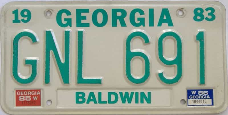 YOM 1986 Georgia license plate for sale