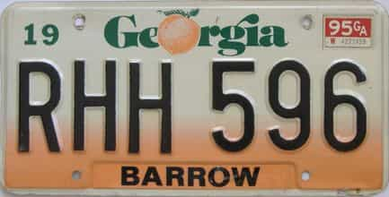 1995 Georgia Counties (Barrow) license plate for sale
