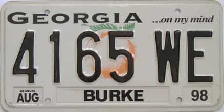 1998 Georgia Counties (Burke) license plate for sale