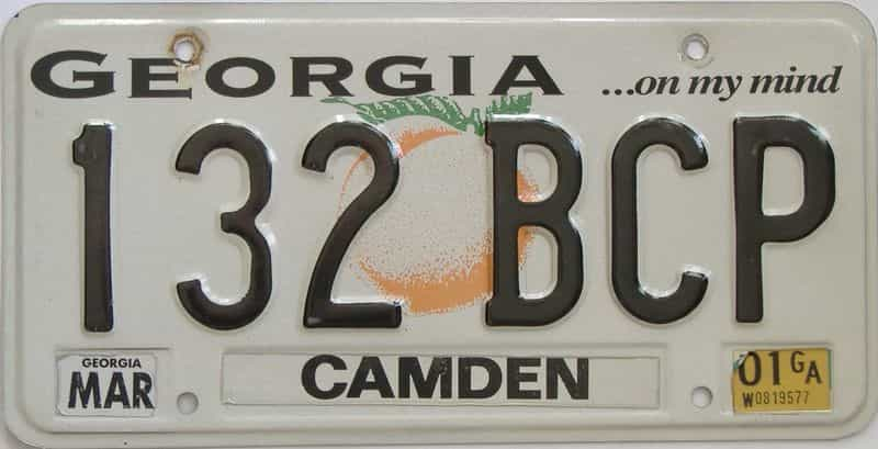 2001 Georgia Counties (Camden) license plate for sale