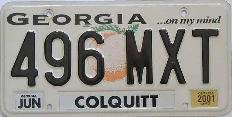 2001 Georgia Counties (Colquitt) license plate for sale