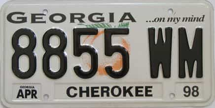 Georgia Counties license plate for sale