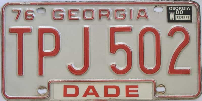 YOM 1980 Georgia (Natural) license plate for sale