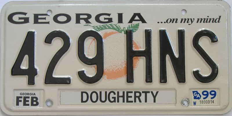 1999 Georgia Counties (Dougherty) license plate for sale