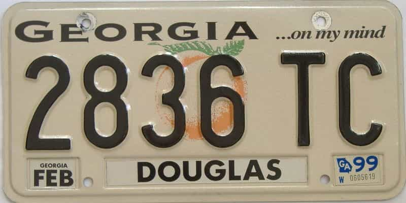 1999 Georgia Counties (Douglas) license plate for sale