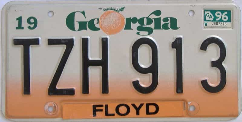 1996 Georgia Counties (Floyd) license plate for sale
