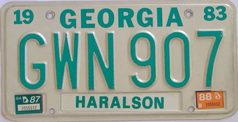 YOM 1988 Georgia YOM 1971 - 1989 license plate for sale