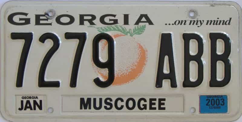 2003 Georgia Counties (Muscogee) license plate for sale