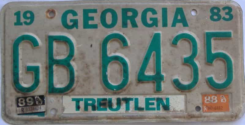 YOM 1989 Georgia Counties (Treutlen) license plate for sale